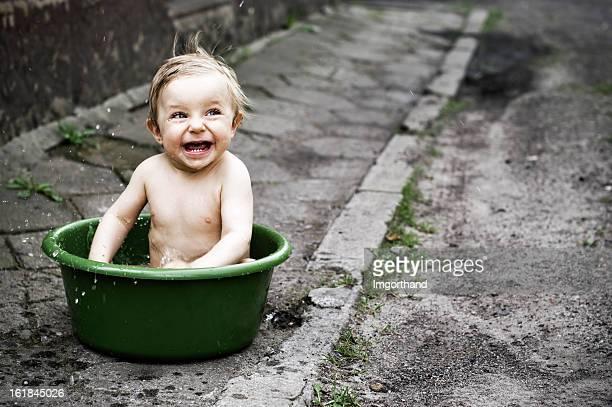 Baby bath in wash tub