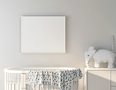 Baby bed with frame poster mockup 3d rendering