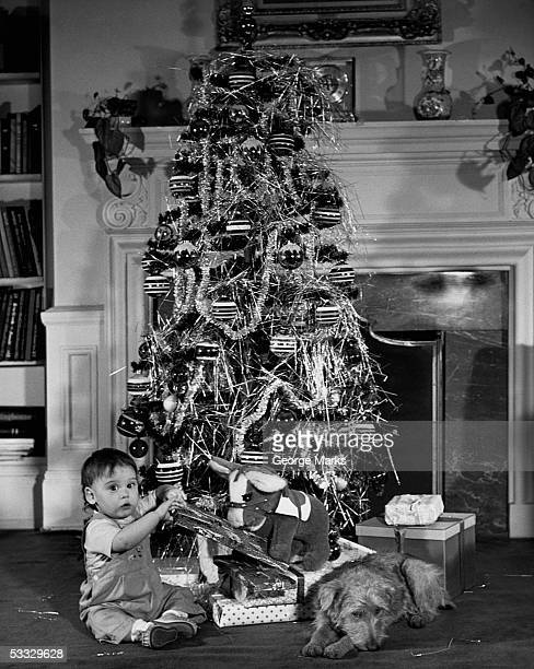 Baby beside a Christmas tree