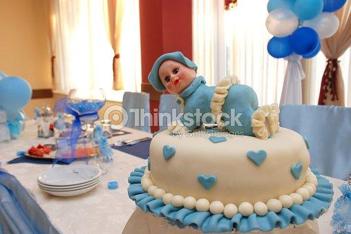 Baby Boy Birthday Cake Stock Photo