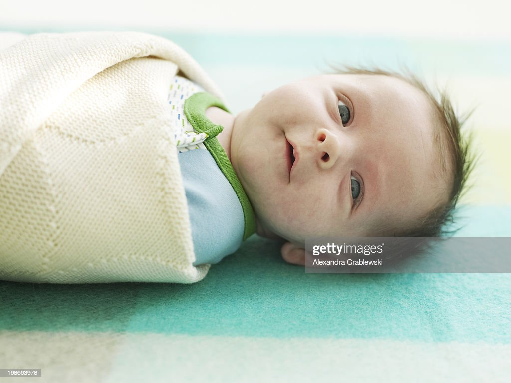 Baby Boy in Swaddle : Stock Photo