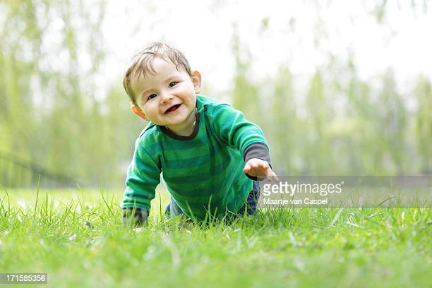 Baby Boy in the Grass - Crawling