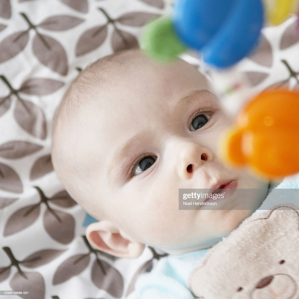 Baby boy (3-6 months) lying on blanket looking at toy, elevated view : Stock Photo