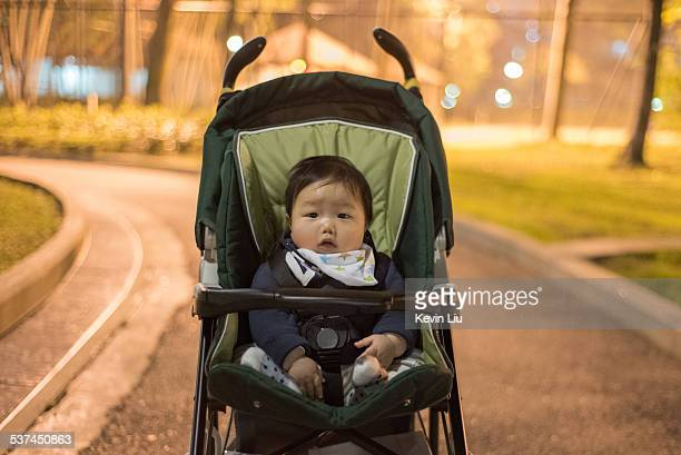 A baby boy on a stroller at park