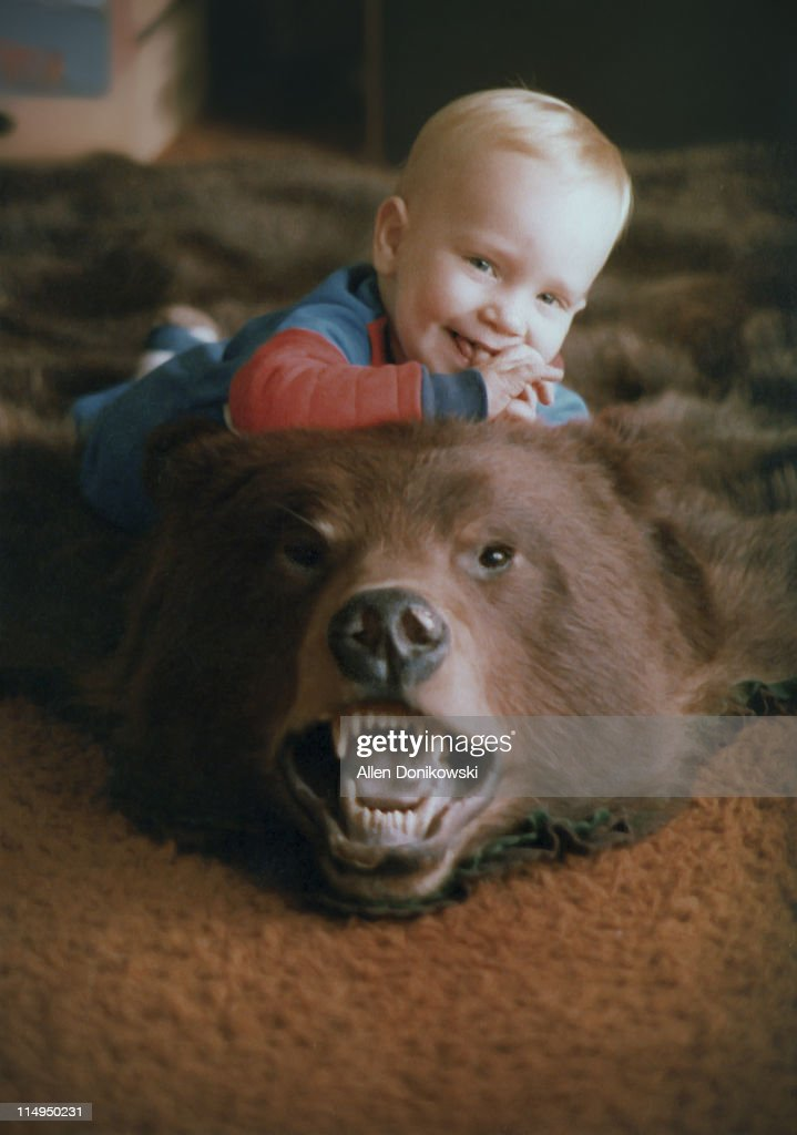 baby boy on bearskin rug - Bearskin Rug