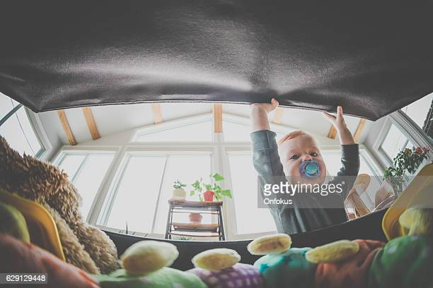 POV Baby Boy Opening Exploring and Looking Inside Toy Box