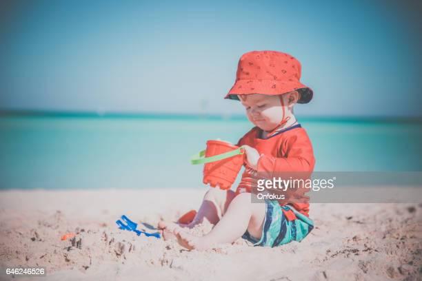 Baby Boy Playing on Tropical Beach, Cayo Coco, Cuba