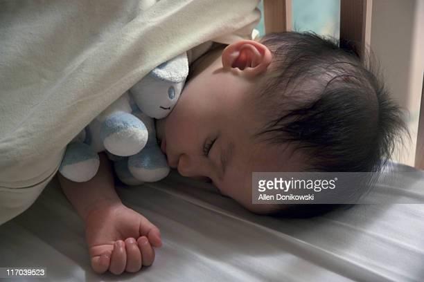baby boy sleeping with stuffed animal