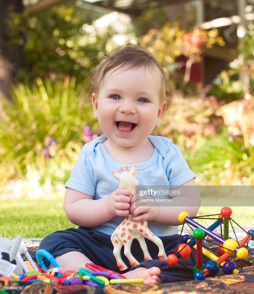 Baby boy smiling : Stock Photo