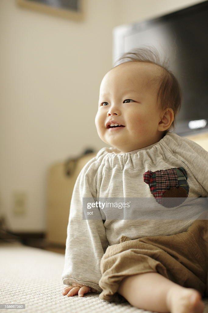 Baby boy smiling : Stock Photo