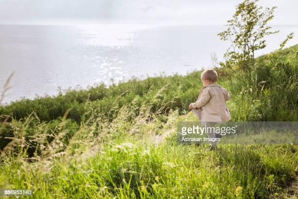 Baby boy (18-23 months) walking towards sea