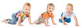 Baby Boys Group, Crawling Infant Kid, Toddler Child Crawl, isolated over White background