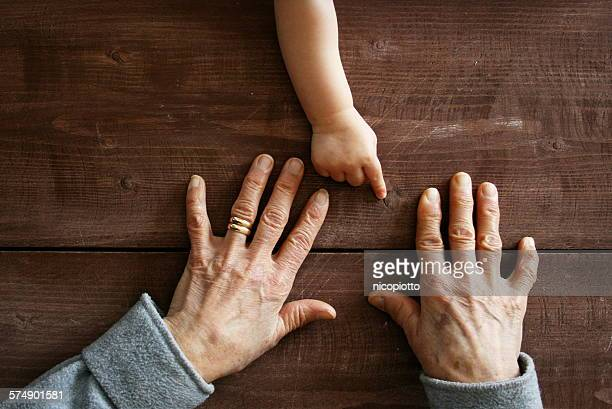 Baby boy's hand pointing at grandmother's hands
