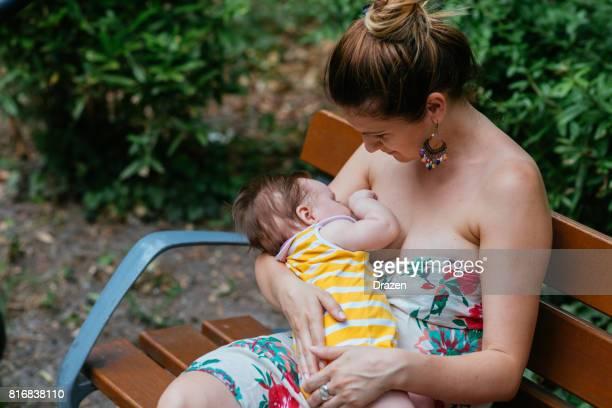 Baby breastfed in public