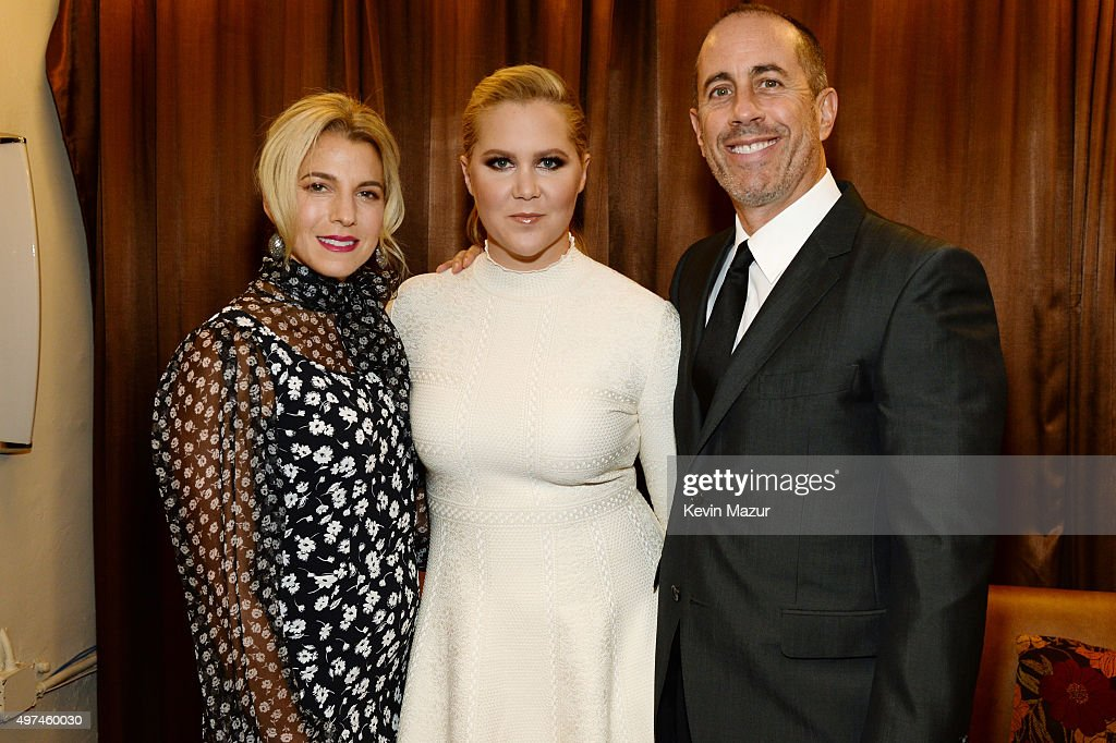 Baby Buggy Founder Jessica Seinfeld, actress Amy Schumer, and comedian Jerry Seinfeld attend as Baby Buggy celebrates 15 years with 'An Evening with Jerry Seinfeld and Amy Schumer' presented by Bank of America - Inside at Beacon Theatre on November 16, 2015 in New York City.