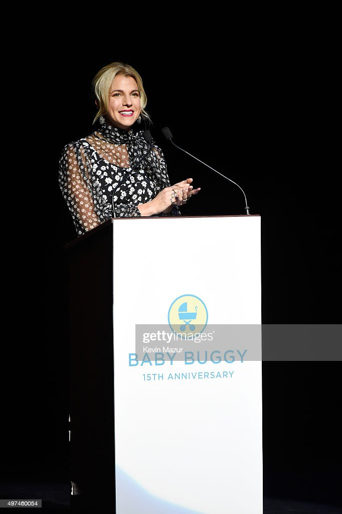 Baby Buggy Founder Jessica Seinfeld speaks onstage as Baby Buggy celebrates 15 years with 'An Evening with Jerry Seinfeld and Amy Schumer' presented by Bank of America - Inside at Beacon Theatre on November 16, 2015 in New York City.