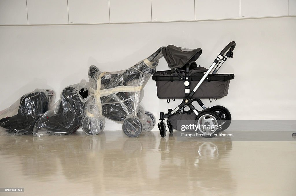 Baby carriages stand at Shakira and Gerard Pique's home on January 27, 2013 in Barcelona, Spain.