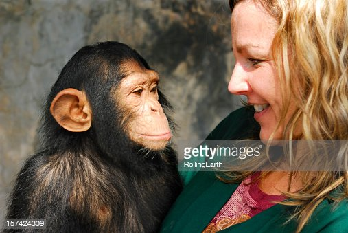 Baby Chimp and Handler