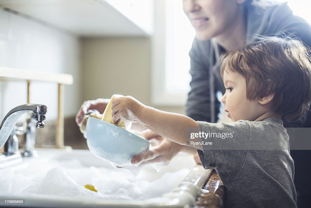 Baby Dish Washing : Stock Photo