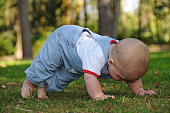 Baby doing a 'press up' getting ready to crawl