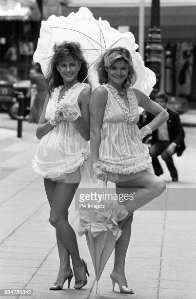Baby doll nighties from Tesco's Autumn/Winter Collection shown in London by models Denise Perry and Caroline Hallett