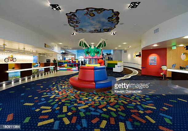A baby dragon sits in the lobby of North America's first ever Legoland Hotel at Legoland on September 17 2013 in Carlsbad California The threestory...