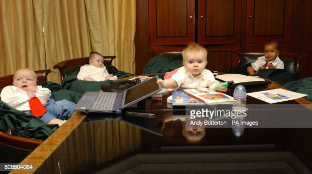 'Baby executives' from left to right Sam Holcroft 4 months from Bristol Daniella Lindsay 5 months from Bristol Lilly Sue McFadden 8 months and Ebov...