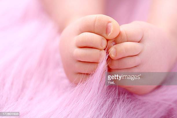 Baby feet on pink