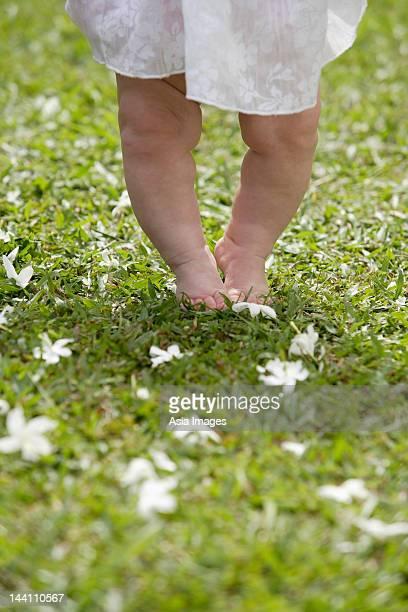 Baby feet walking on grass