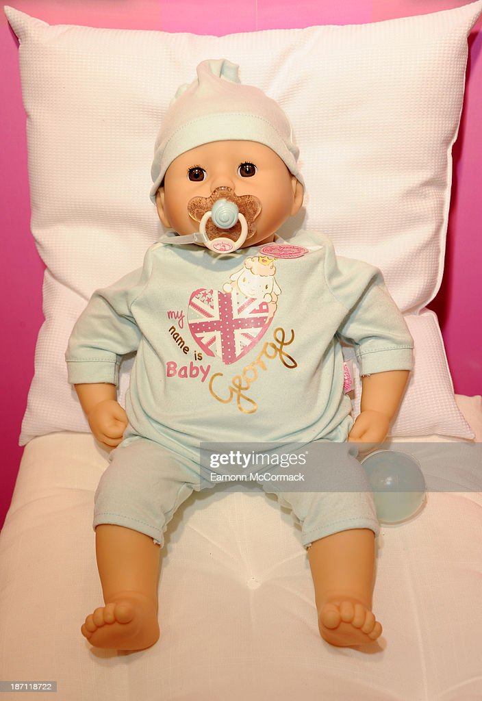 Baby George Doll on display at the Dream Toys 2013 press day at St Mary's on November 6, 2013 in London, England.