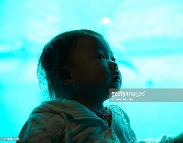 Baby girl at aquarium