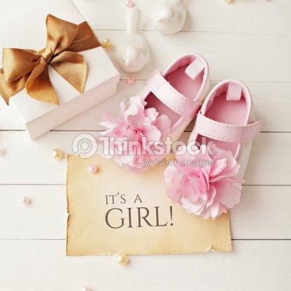 Baby girl birthday greeting card stock photo thinkstock baby girl birthday greeting card stock photo bookmarktalkfo Images