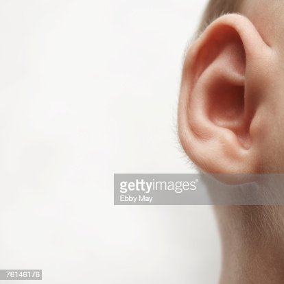 Baby girl (0-3 months), close-up of ear : Stock Photo