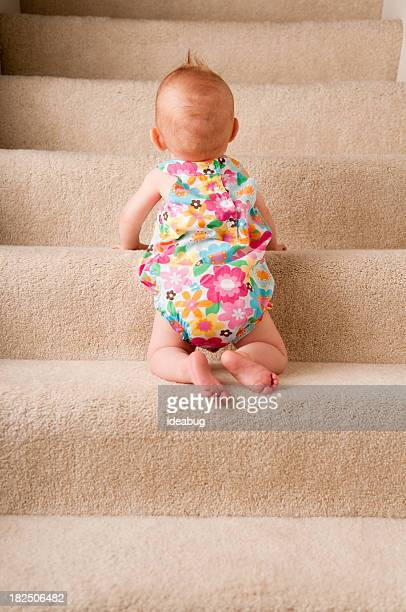 Baby Girl Crawling Up Carpeted Steps Alone