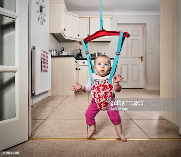 Baby Girl Dancing in Door Bouncer