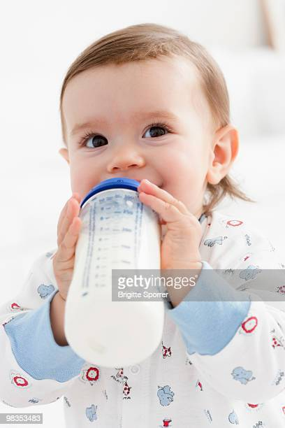 baby girl drinking milk