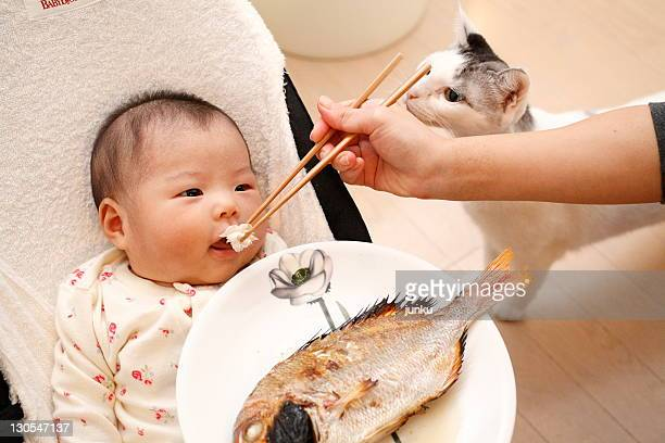 Baby girl eating fish