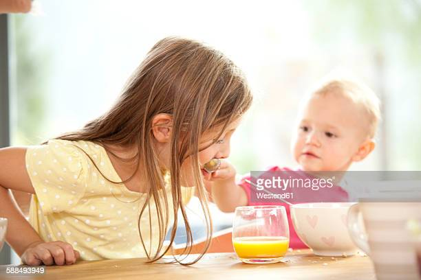 Baby girl feeding sister at breakfast table