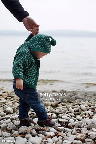 Baby girl holding fathers hand stepping on lakeside pebbles, Lake Starnberg, Bavaria, Germany