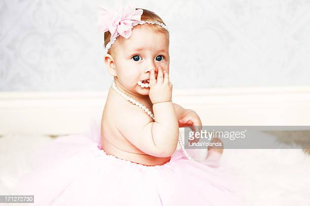 Baby Girl in Tutu and Pearls