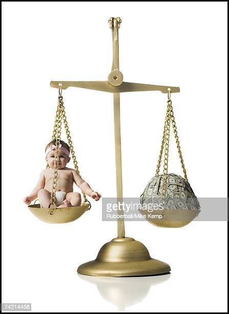 Baby girl on scale with pile of money