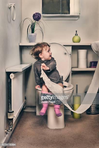 Baby Girl on Toilet
