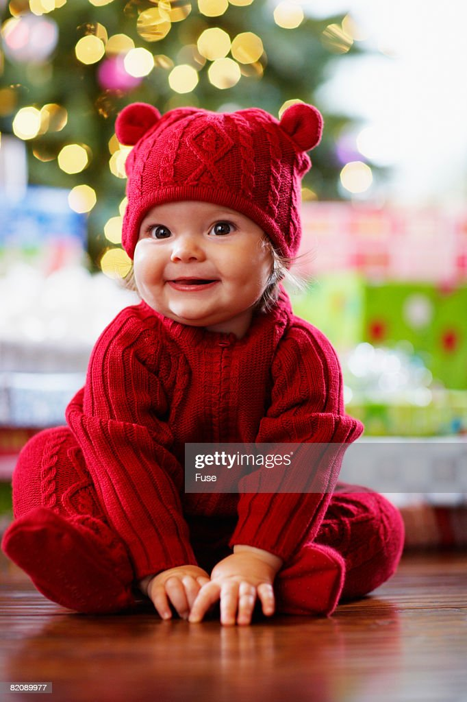 Baby Girl Wearing Christmas Clothes : Stock Photo