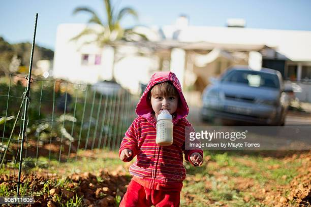 Baby girl with bottle