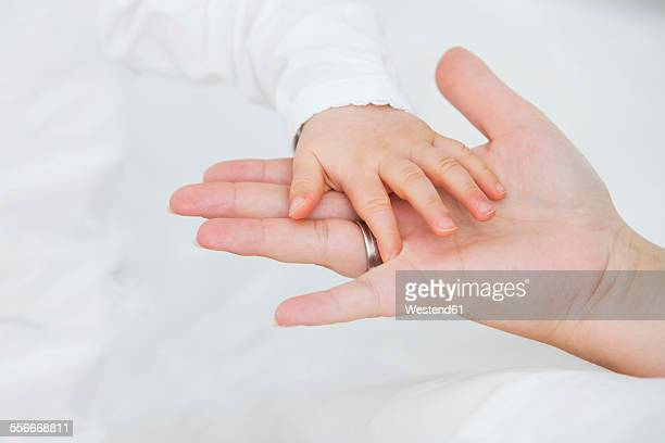 Baby girls hand on mothers hand