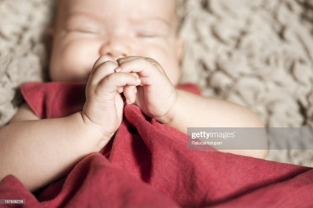 baby girl's hands detail : Stock Photo