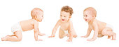 Baby Group Crawling In Diaper, Toddler Children Happy Smiling, Infant Kids on all fours Isolated Over White Background