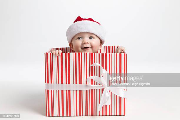 Baby in a Christmas gift