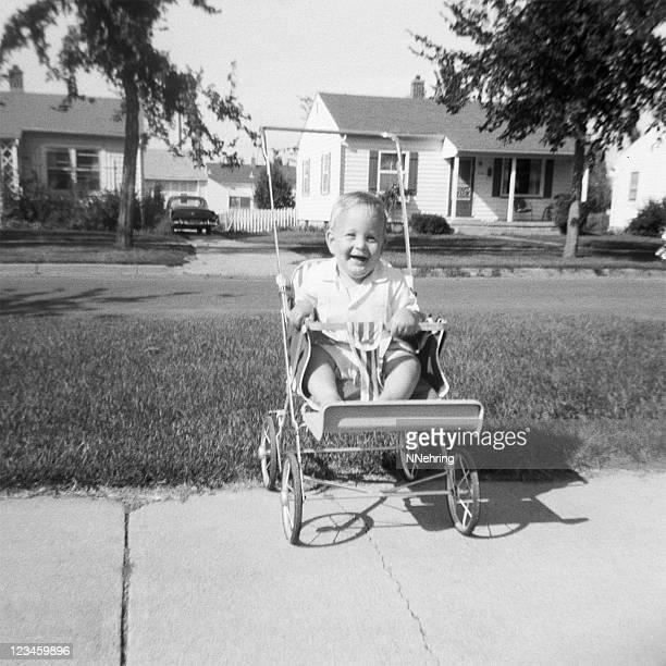 baby in stroller 1959, retro