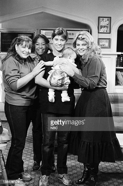 LIFE 'A Baby in the House' Episode 3 Pictured Mindy Cohn as Natalie Green Kim Fields as Dorothy 'Tootie' Ramsey Nancy McKeon as Joanne 'Jo'...